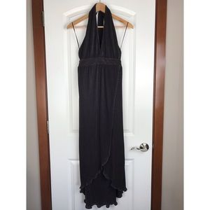 NWOT Lush Pleated Halter Dress Black Metallic S